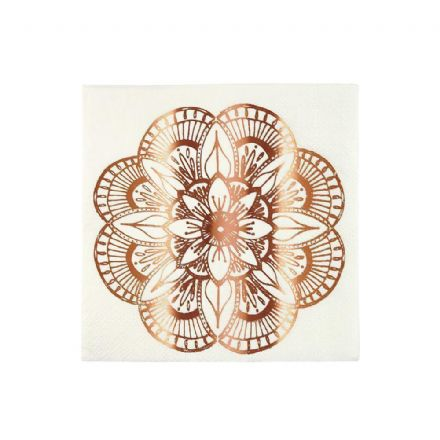 Rose Gold Mandala Pattern Paper Napkins - Small